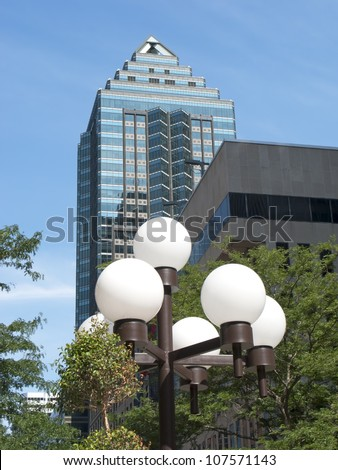 skyscraper with city lights - stock photo
