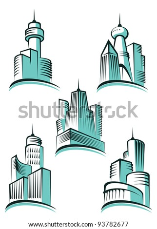Skyscrapers and real estate symbols for design and decorate, such a logo. Vector version also available in gallery - stock photo