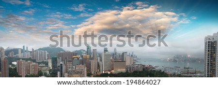 Skyscrapers and sea. - stock photo
