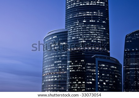Skyscrapers at evening after sunshine - stock photo