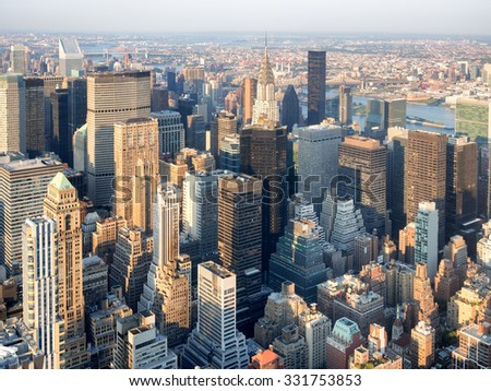 Skyscrapers at midtown Manhattan in New York City - stock photo