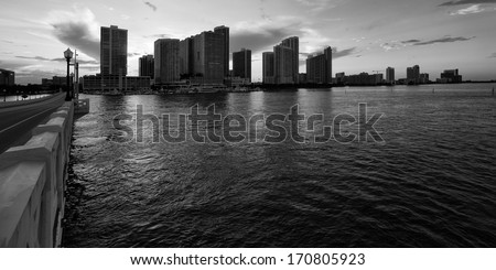 Skyscrapers at the waterfront, Venetian Causeway, Venetian Islands, Biscayne Bay, Miami, Florida, USA - stock photo