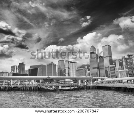 Skyscrapers. Black and white view - stock photo