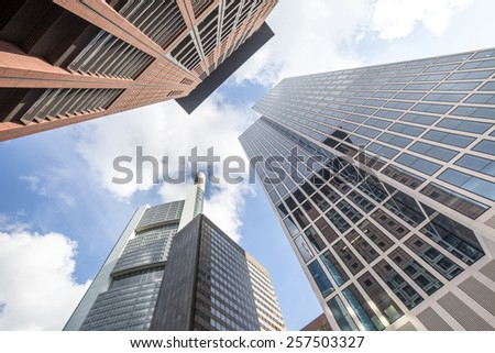 skyscrapers frankfurt am main in germany - stock photo