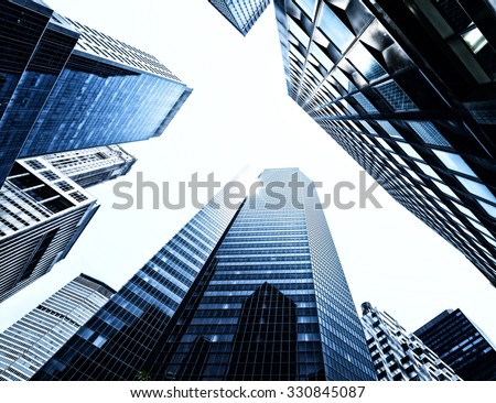 Skyscrapers from below - stock photo