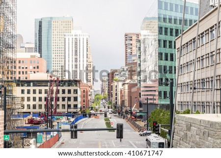 Skyscrapers in a mile high Denver downtown, Colorado, USA - stock photo
