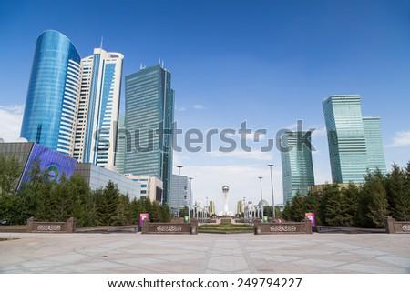 Skyscrapers in Astana, Kazakhstan - stock photo