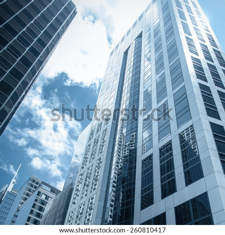 Skyscrapers in center of the City. Blue tone - stock photo