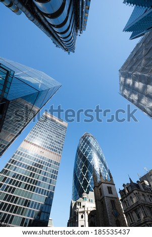 Skyscrapers in City of London - stock photo