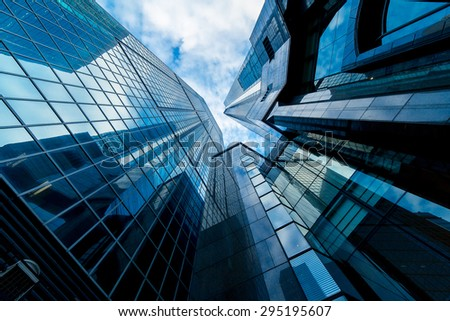 Skyscrapers in Commercial Area, Hongkong - stock photo