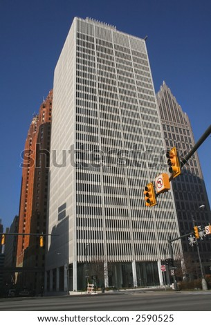 Skyscrapers in downtown Detroit - stock photo