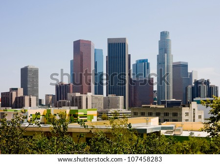 Skyscrapers in downtown Los Angeles - stock photo