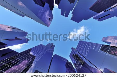 Skyscrapers in downtown, modern buildings - 3d illustration - stock photo