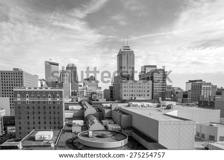 Skyscrapers in downtown of Indianapolis, Indiana - stock photo