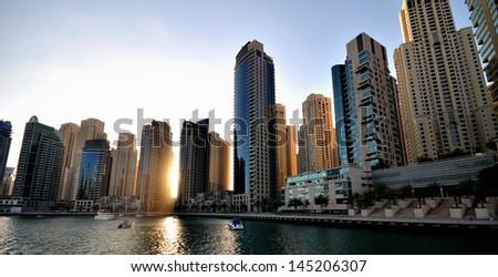 Skyscrapers in Dubai, United Arab Emirates - stock photo