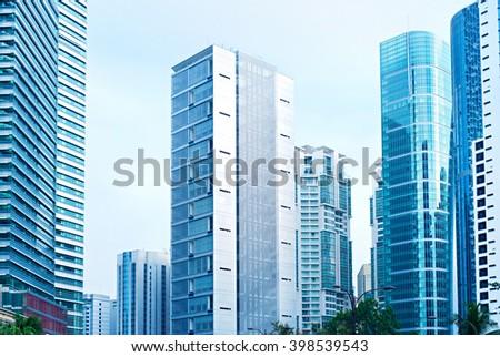 Skyscrapers in Kuala Lumpur business center. Malaysia - stock photo