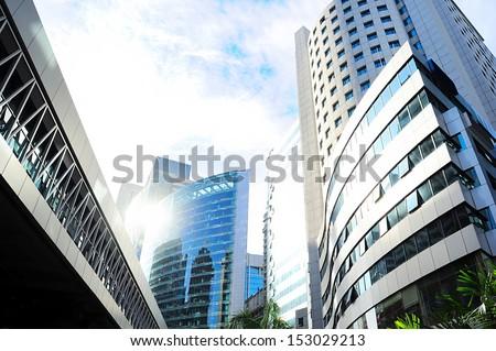 Skyscrapers in Kuala Lumpur financial center. Malaysia - stock photo