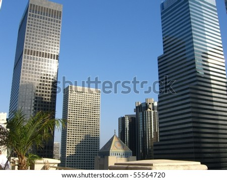 skyscrapers in los angeles - stock photo