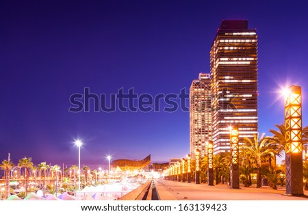 skyscrapers in Port Olimpic - center of nightlife at Barcelona, Spain  - stock photo