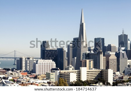 Skyscrapers in San Francisco, California - stock photo
