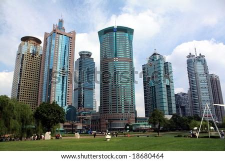 Skyscrapers in Shanghai, China - stock photo