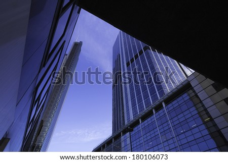 Skyscrapers in The City, central London's traditional financial and business district. Including Heron Tower. / City Skyscrapers - stock photo