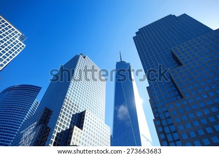 Skyscrapers in the downtown of New York, view from below - stock photo