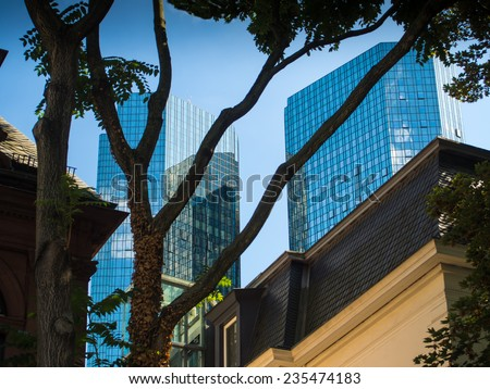 Skyscrapers in the financial district of Frankfurt, Germany - stock photo