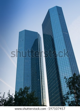 Skyscrapers in the financial district of Frankfurt, Germany Fascinating modern architecture in one of the most dynamic business environments in Europe - stock photo