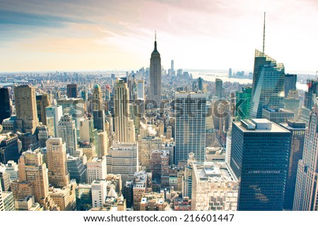 Skyscrapers. Manhattan is one of places with the greatest concentration of the capital in the USA. - stock photo
