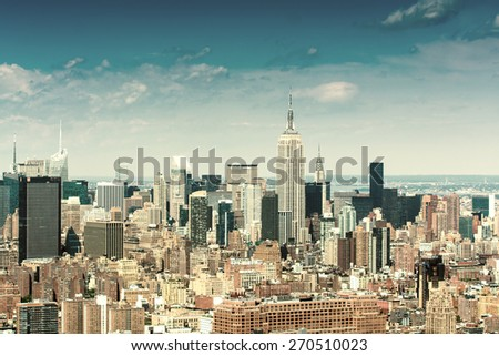 Skyscrapers. Midtown Manhattan helicopter view. - stock photo