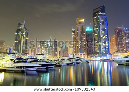 Skyscrapers of Dubai Marina at night, United Arab Emirates - stock photo
