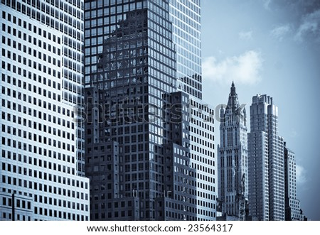 skyscrapers of manhattan, new york, usa - stock photo