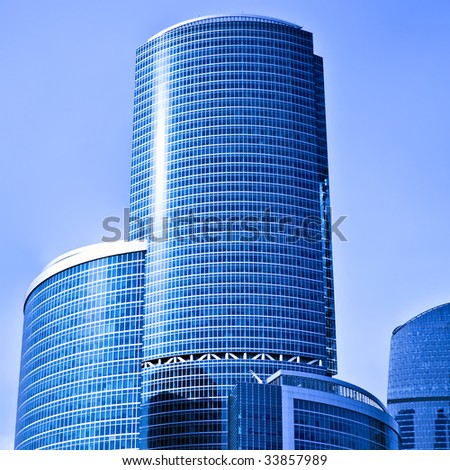 Skyscrapers of the International Business Centre, Moscow on blue sky background - stock photo
