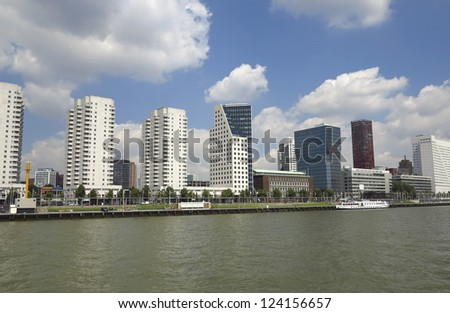 Skyscrapers on the rivershore in Rotterdam - stock photo