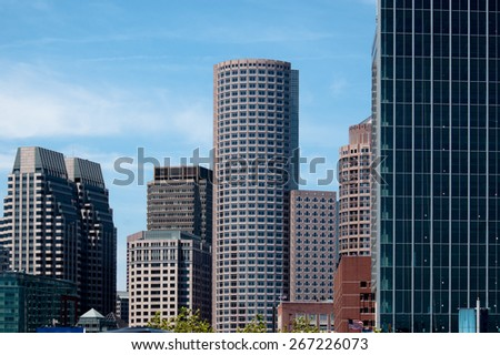 Skyscrapers on the side of the sky. Boston, Massachusetts. - stock photo