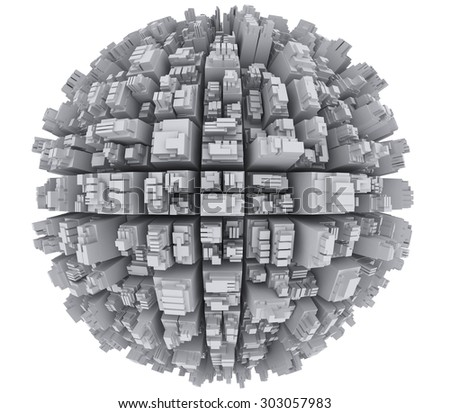 Skyscrapers on the sphere - stock photo