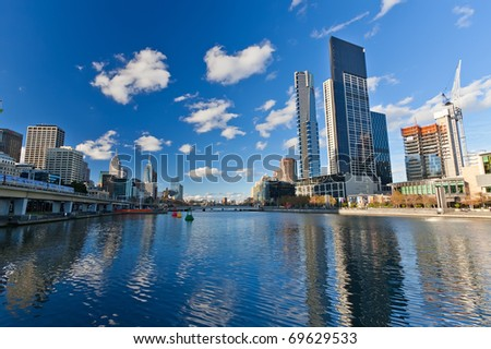 Skyscrapers on Yarra River, Melbourne - stock photo