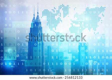 skyscrapers skyline business background illustration - stock photo