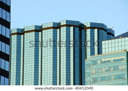 Skyscrapers under the blue sky in downtown edmonton, alberta, canada - stock photo