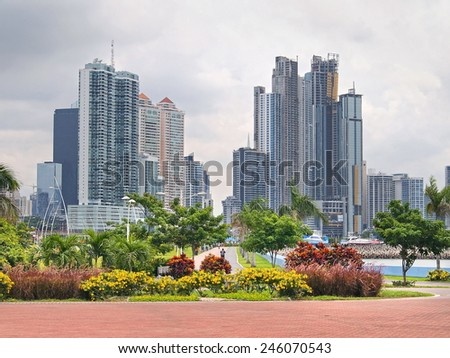 Skyscrapers with tropical plants in Panama City, Panama, Central America - stock photo