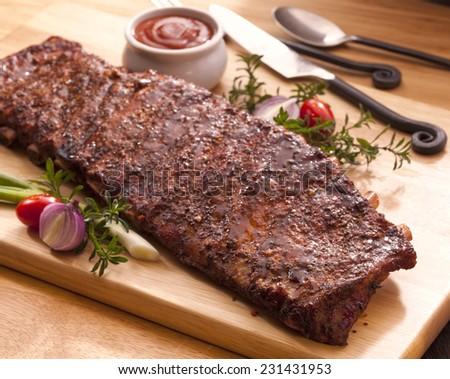 Slab of bbq ribs - stock photo
