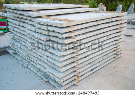 Slabs of concrete used in the construction of bridges - stock photo