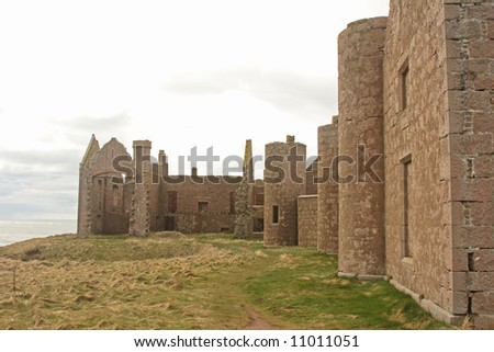 Slains Castle, North of Cruden Bay, Aberdeen - stock photo