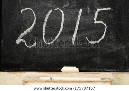 slate blackboard with the inscription 2015, horizontal - stock photo