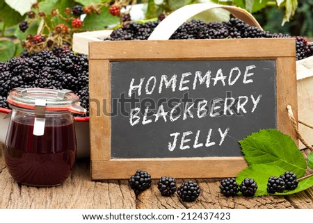 Slate blackboard with the words: Homemade Blackberry Jelly in front of ripe blackberries and a on a rustic wooden table - stock photo
