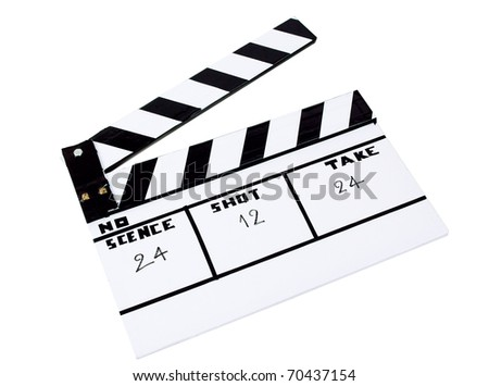 Slate clapboard for scene or movie shoot isolated on white  - stock photo