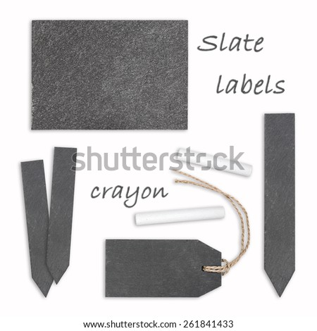 Slate labels with crayon - stock photo