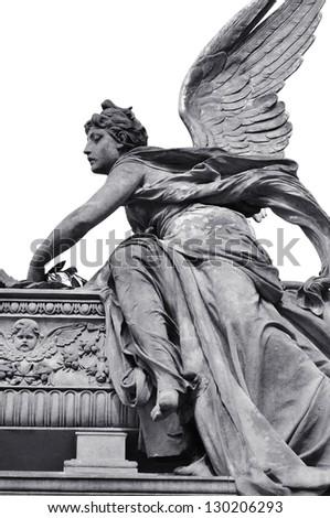 Slavin cemetery on Vysehrad, statue of the Angel, Prague - stock photo