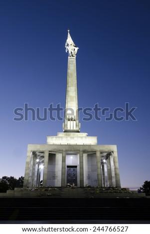 Slavin, the memorial to Soviet soldiers killed during World War II in Bratislava, Slovakia. - stock photo